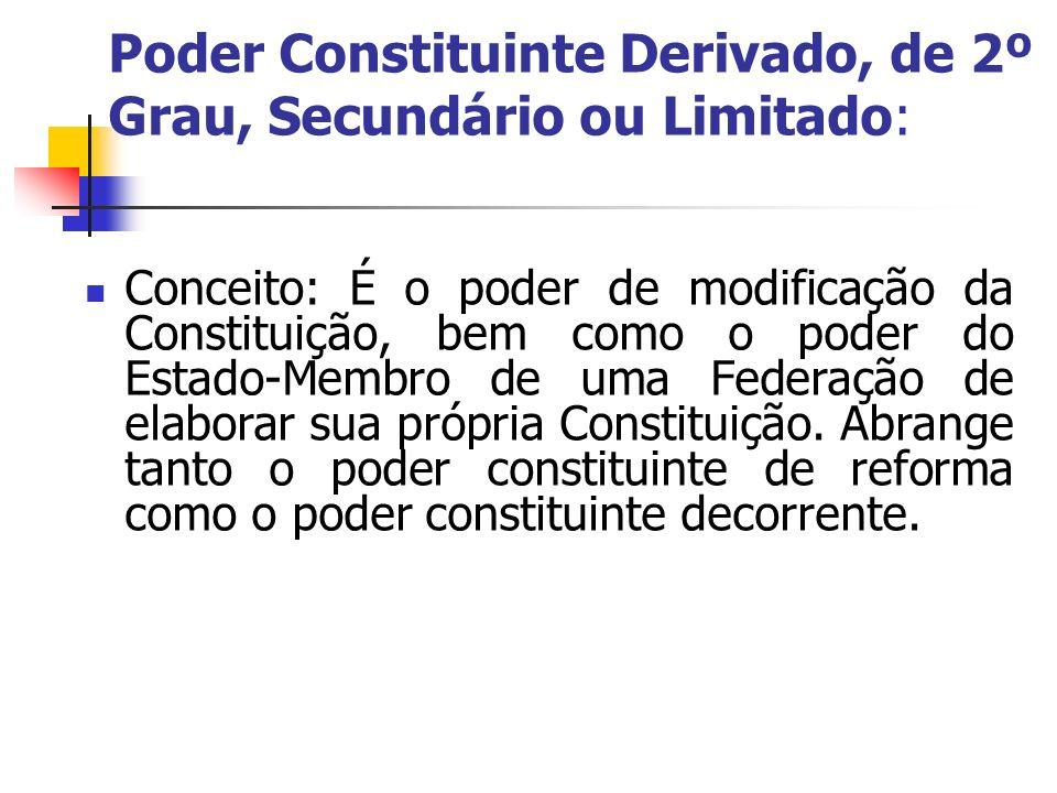 Poder Constituinte Derivado, de 2º Grau, Secundário ou Limitado: Conceito: É o poder de modificação da Constituição, bem como o poder do Estado-Membro
