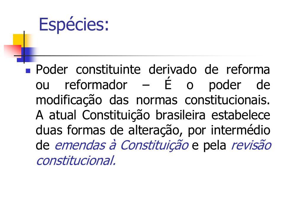 Espécies: Poder constituinte derivado de reforma ou reformador – É o poder de modificação das normas constitucionais. A atual Constituição brasileira