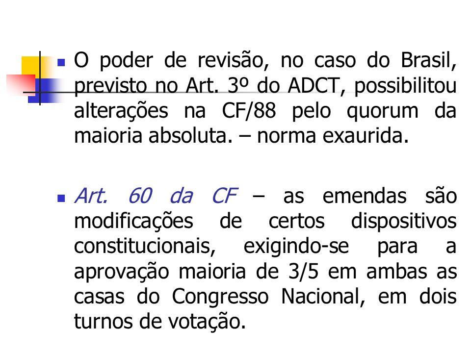 O poder de revisão, no caso do Brasil, previsto no Art. 3º do ADCT, possibilitou alterações na CF/88 pelo quorum da maioria absoluta. – norma exaurida