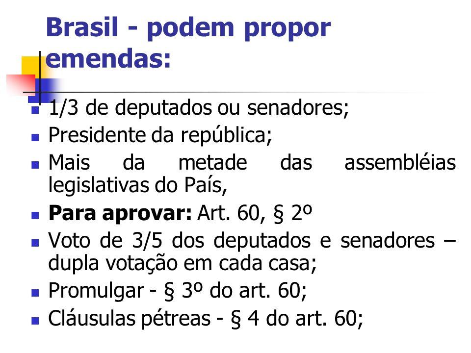 Brasil - podem propor emendas: 1/3 de deputados ou senadores; Presidente da república; Mais da metade das assembléias legislativas do País, Para aprov