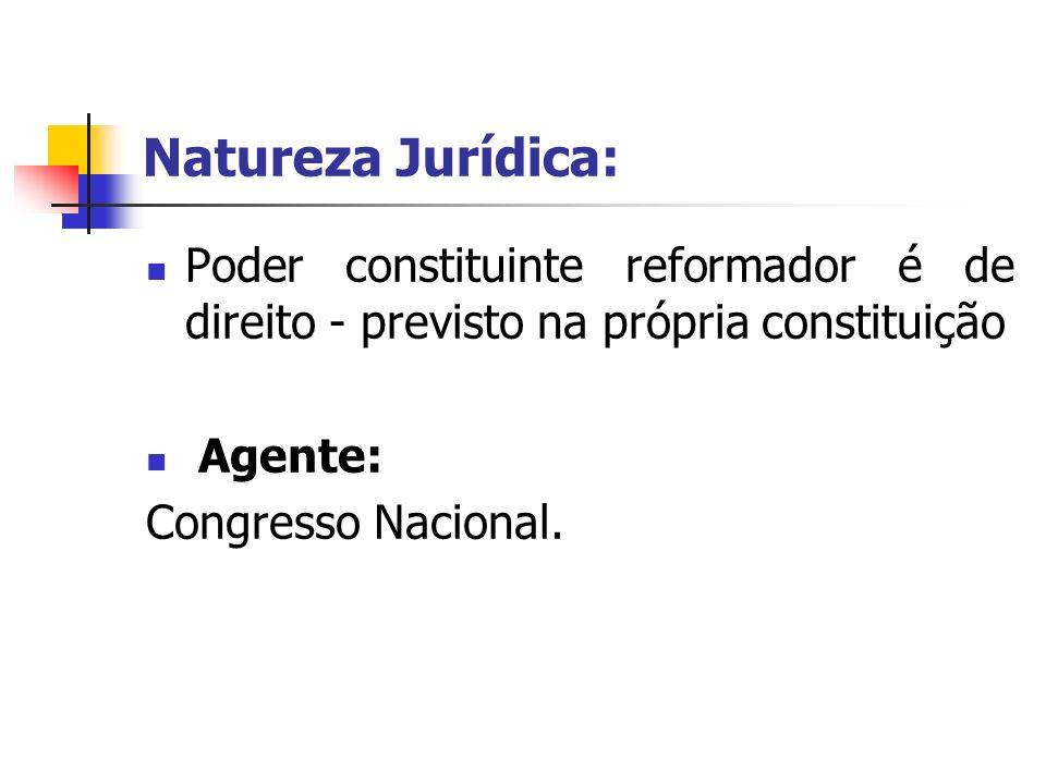 Natureza Jurídica: Poder constituinte reformador é de direito - previsto na própria constituição Agente: Congresso Nacional.