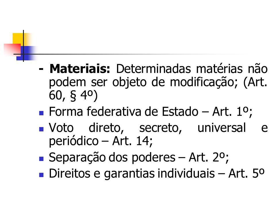 - Materiais: Determinadas matérias não podem ser objeto de modificação; (Art. 60, § 4º) Forma federativa de Estado – Art. 1º; Voto direto, secreto, un