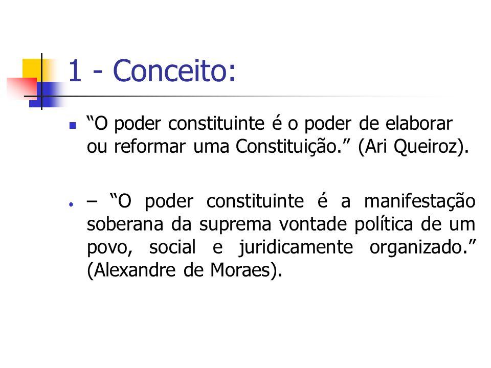 1 - Conceito: O poder constituinte é o poder de elaborar ou reformar uma Constituição. (Ari Queiroz). – O poder constituinte é a manifestação soberana