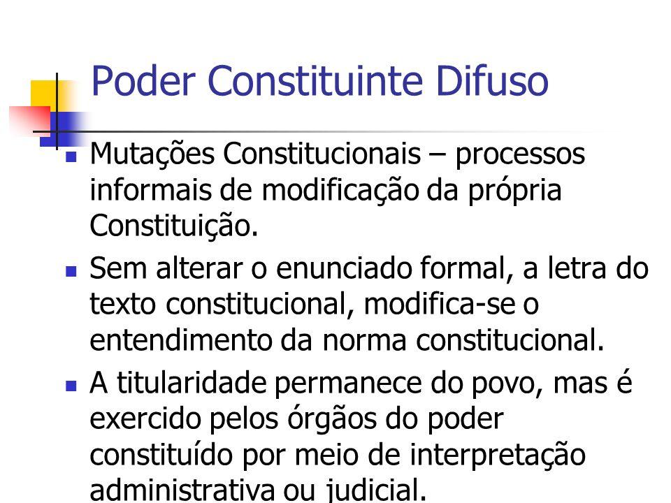 Poder Constituinte Difuso Mutações Constitucionais – processos informais de modificação da própria Constituição. Sem alterar o enunciado formal, a let