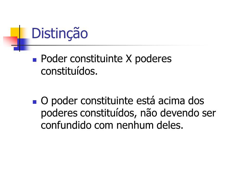 Distinção Poder constituinte X poderes constituídos. O poder constituinte está acima dos poderes constituídos, não devendo ser confundido com nenhum d