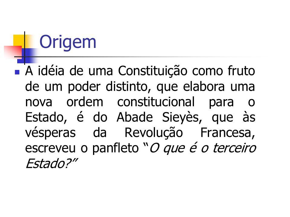 Origem A idéia de uma Constituição como fruto de um poder distinto, que elabora uma nova ordem constitucional para o Estado, é do Abade Sieyès, que às