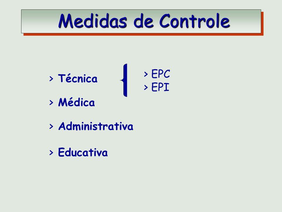 > EPC > EPI > Técnica > Médica > Administrativa > Educativa Medidas de Controle Medidas de Controle