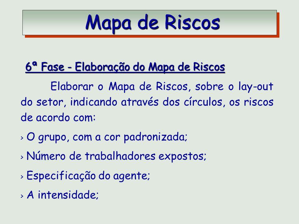 Mapa de Riscos Mapa de Riscos 6ª Fase - Elaboração do Mapa de Riscos 6ª Fase - Elaboração do Mapa de Riscos Elaborar o Mapa de Riscos, sobre o lay-out