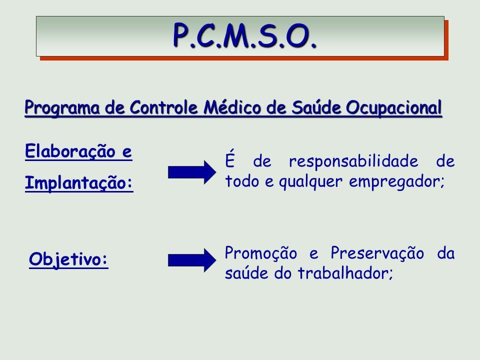 P.C.M.S.O. P.C.M.S.O. Programa de Controle Médico de Saúde Ocupacional Programa de Controle Médico de Saúde Ocupacional Elaboração e Implantação: É de