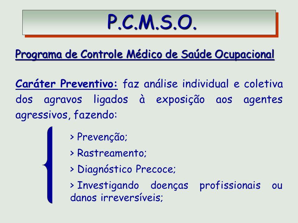 P.C.M.S.O. P.C.M.S.O. Programa de Controle Médico de Saúde Ocupacional Programa de Controle Médico de Saúde Ocupacional Caráter Preventivo: faz anális