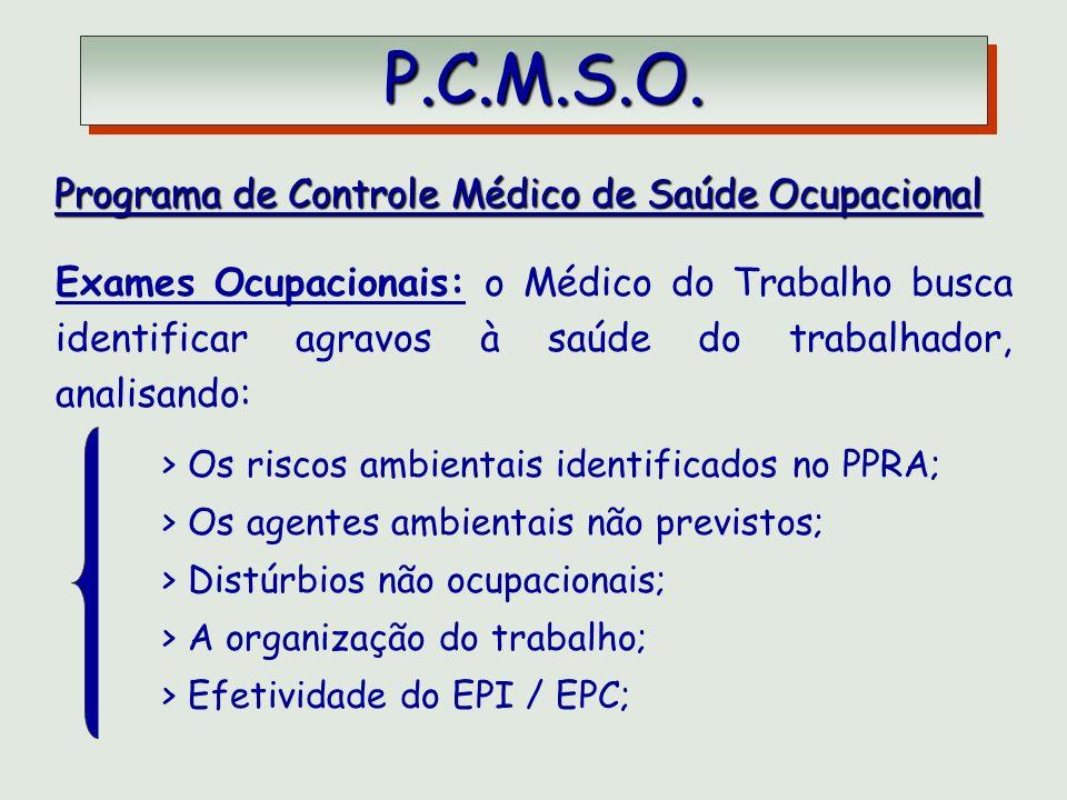 P.C.M.S.O. P.C.M.S.O. Programa de Controle Médico de Saúde Ocupacional Programa de Controle Médico de Saúde Ocupacional Exames Ocupacionais: o Médico