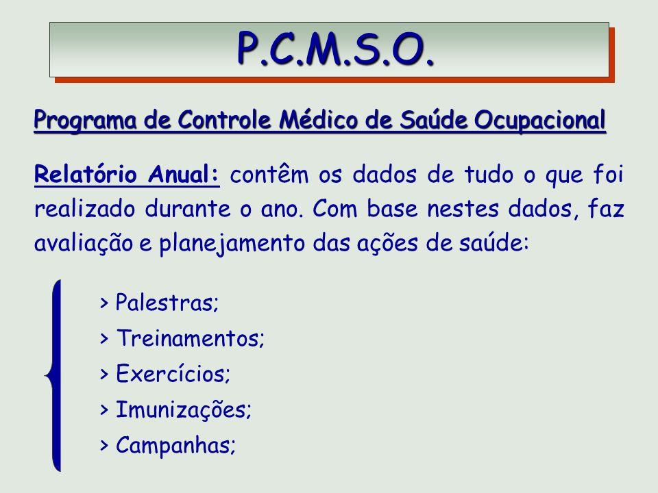 P.C.M.S.O. P.C.M.S.O. Programa de Controle Médico de Saúde Ocupacional Programa de Controle Médico de Saúde Ocupacional Relatório Anual: contêm os dad