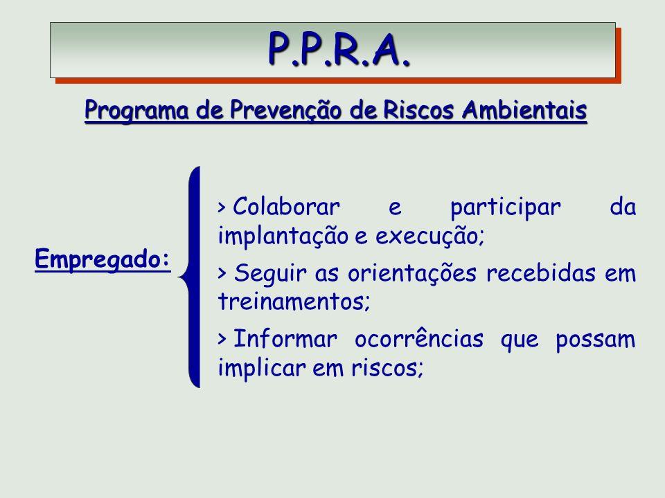 P.P.R.A. P.P.R.A. Programa de Prevenção de Riscos Ambientais > Colaborar e participar da implantação e execução; > Seguir as orientações recebidas em