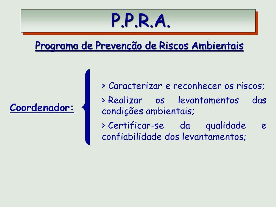 P.P.R.A. P.P.R.A. Programa de Prevenção de Riscos Ambientais Coordenador: > Caracterizar e reconhecer os riscos; > Realizar os levantamentos das condi