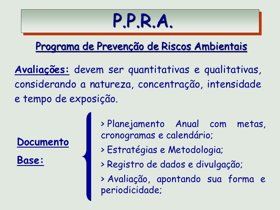 P.P.R.A. P.P.R.A. Programa de Prevenção de Riscos Ambientais Documento Base: > Planejamento Anual com metas, cronogramas e calendário; > Estratégias e