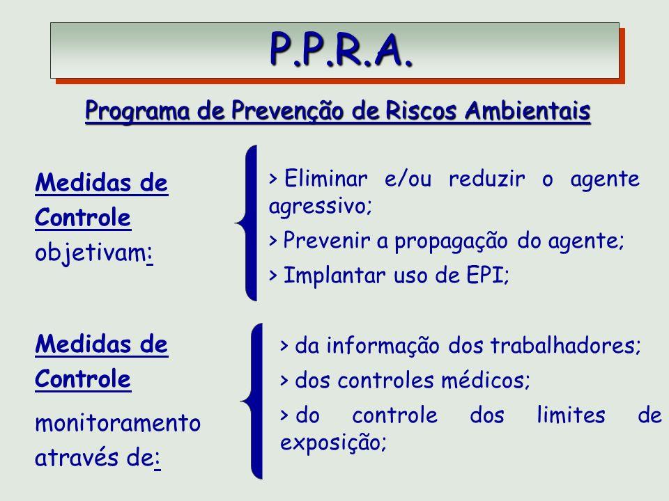 P.P.R.A. P.P.R.A. Programa de Prevenção de Riscos Ambientais Medidas de Controle objetivam: > Eliminar e/ou reduzir o agente agressivo; > Prevenir a p