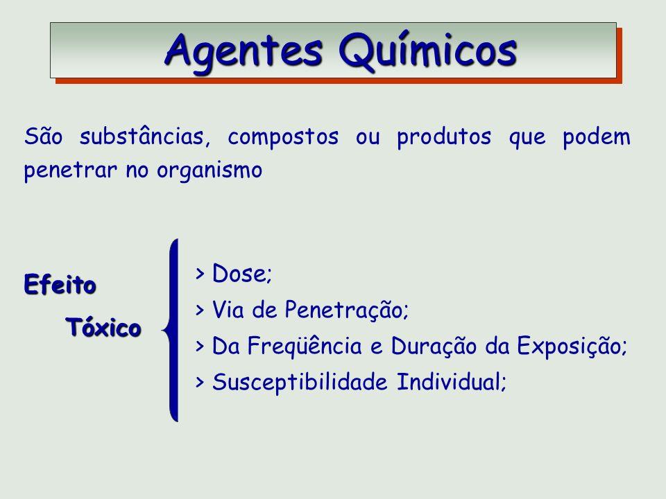 Agentes Químicos Agentes Químicos São substâncias, compostos ou produtos que podem penetrar no organismo Efeito Tóxico Tóxico > Dose ; > Via de Penetr