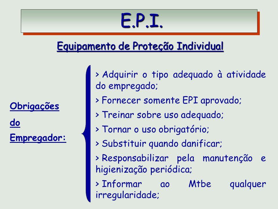 E.P.I. E.P.I. Equipamento de Proteção Individual Obrigações do Empregador: > Adquirir o tipo adequado à atividade do empregado; > Fornecer somente EPI