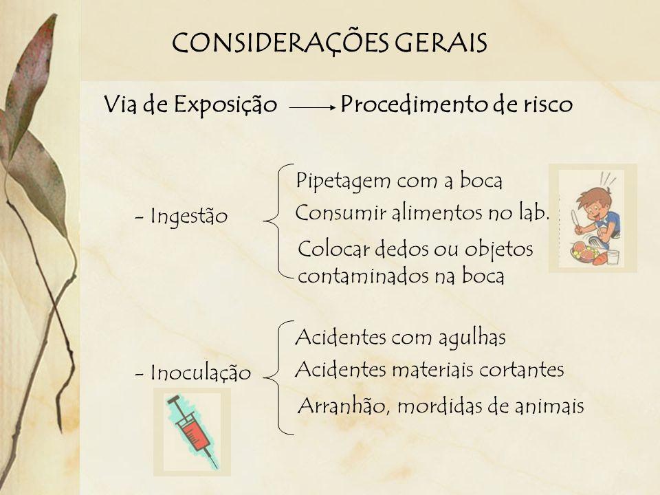 CONSIDERAÇÕES GERAIS Via de Exposição Procedimento de risco - Ingestão Pipetagem com a boca Consumir alimentos no lab. Colocar dedos ou objetos contam