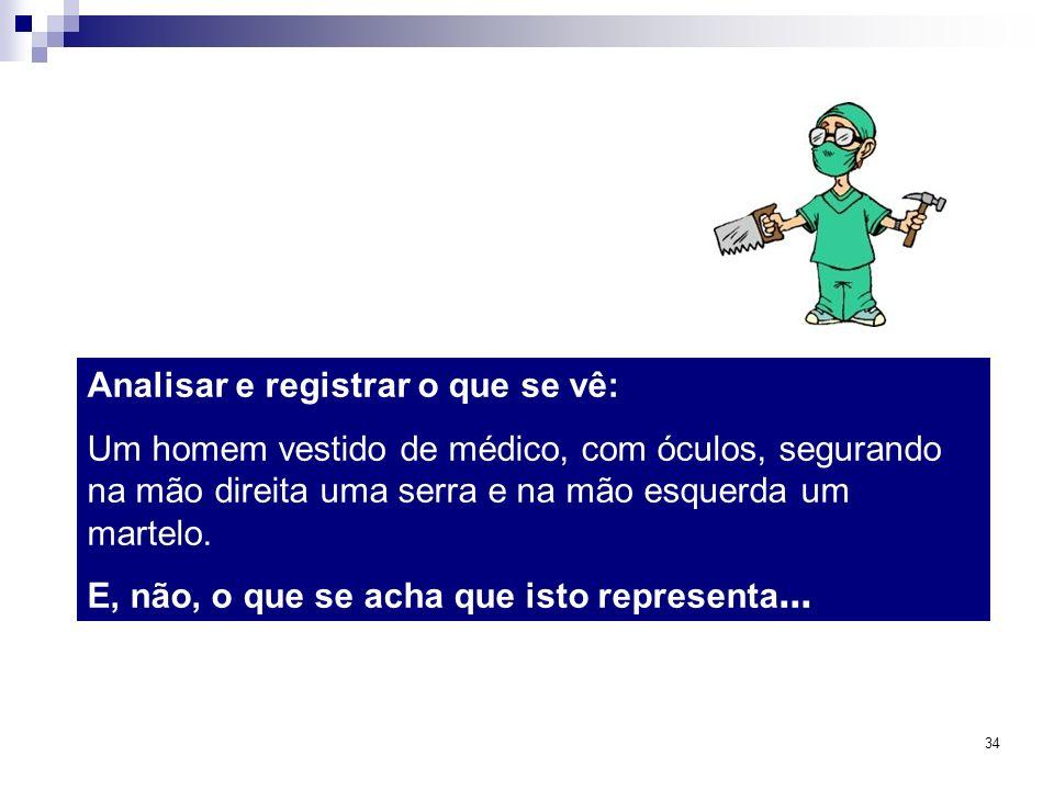 34 Analisar e registrar o que se vê: Um homem vestido de médico, com óculos, segurando na mão direita uma serra e na mão esquerda um martelo. E, não,