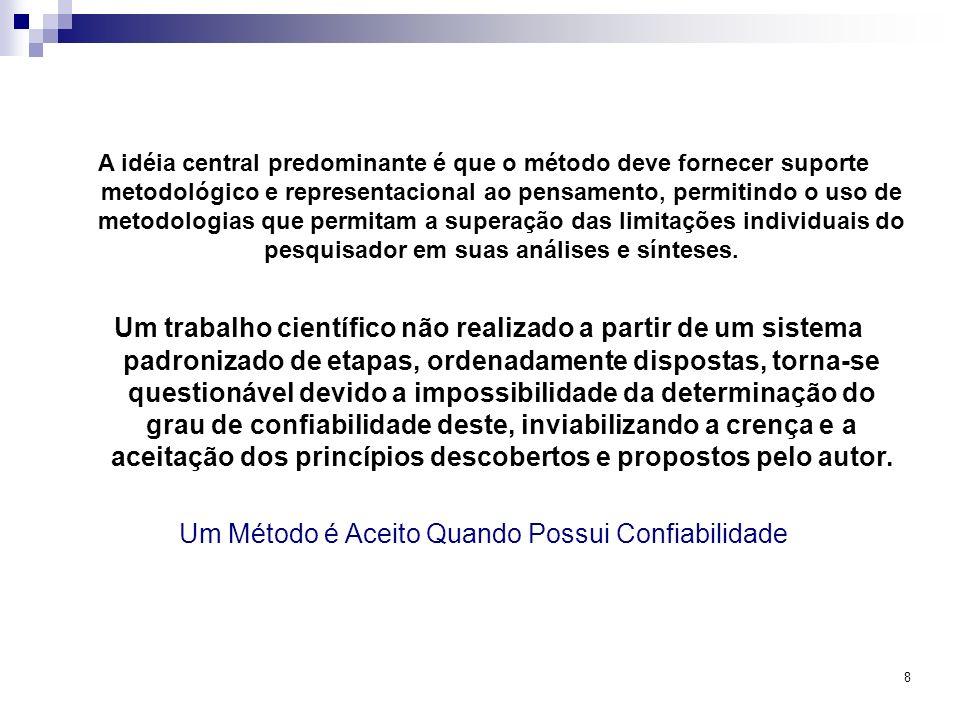 8 A idéia central predominante é que o método deve fornecer suporte metodológico e representacional ao pensamento, permitindo o uso de metodologias qu