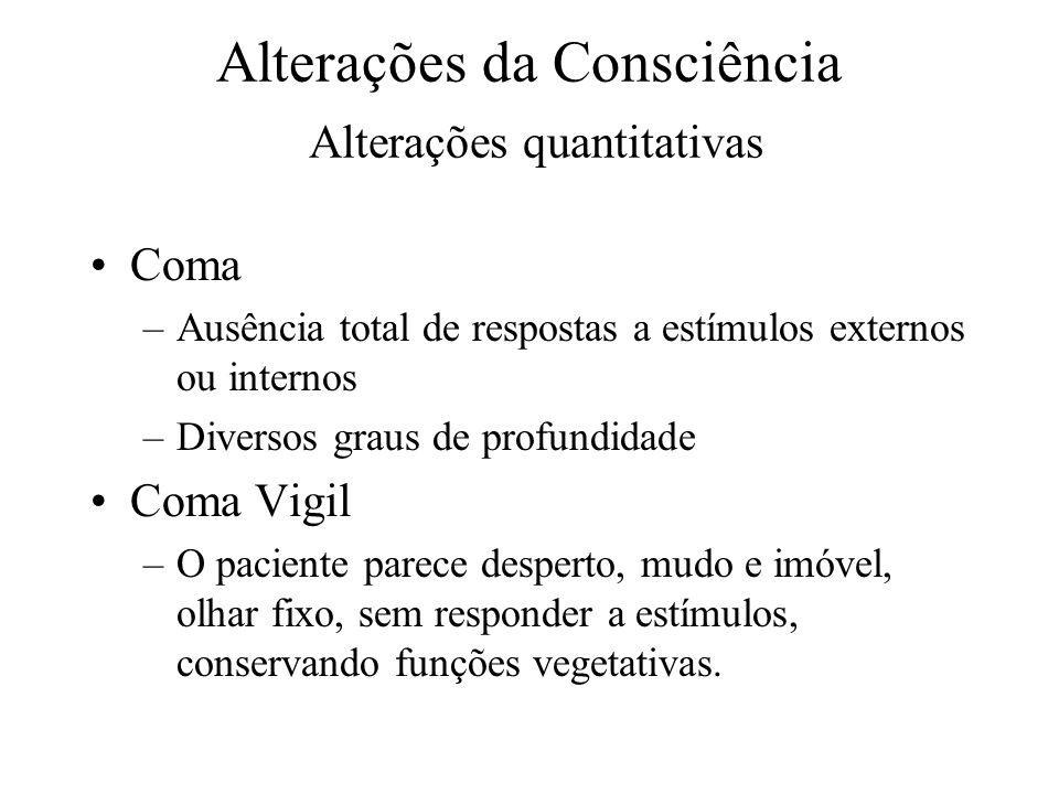 Alterações da Consciência Alterações quantitativas Coma –Ausência total de respostas a estímulos externos ou internos –Diversos graus de profundidade