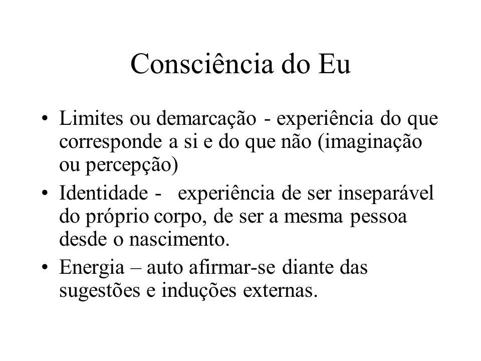 Consciência do Eu Limites ou demarcação - experiência do que corresponde a si e do que não (imaginação ou percepção) Identidade - experiência de ser i