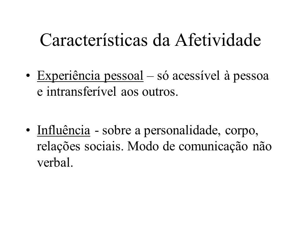 Características da Afetividade Experiência pessoal – só acessível à pessoa e intransferível aos outros. Influência - sobre a personalidade, corpo, rel