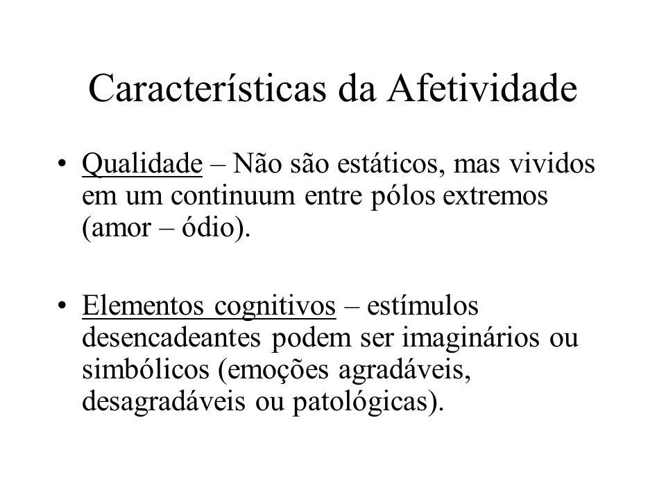 Características da Afetividade Qualidade – Não são estáticos, mas vividos em um continuum entre pólos extremos (amor – ódio). Elementos cognitivos – e