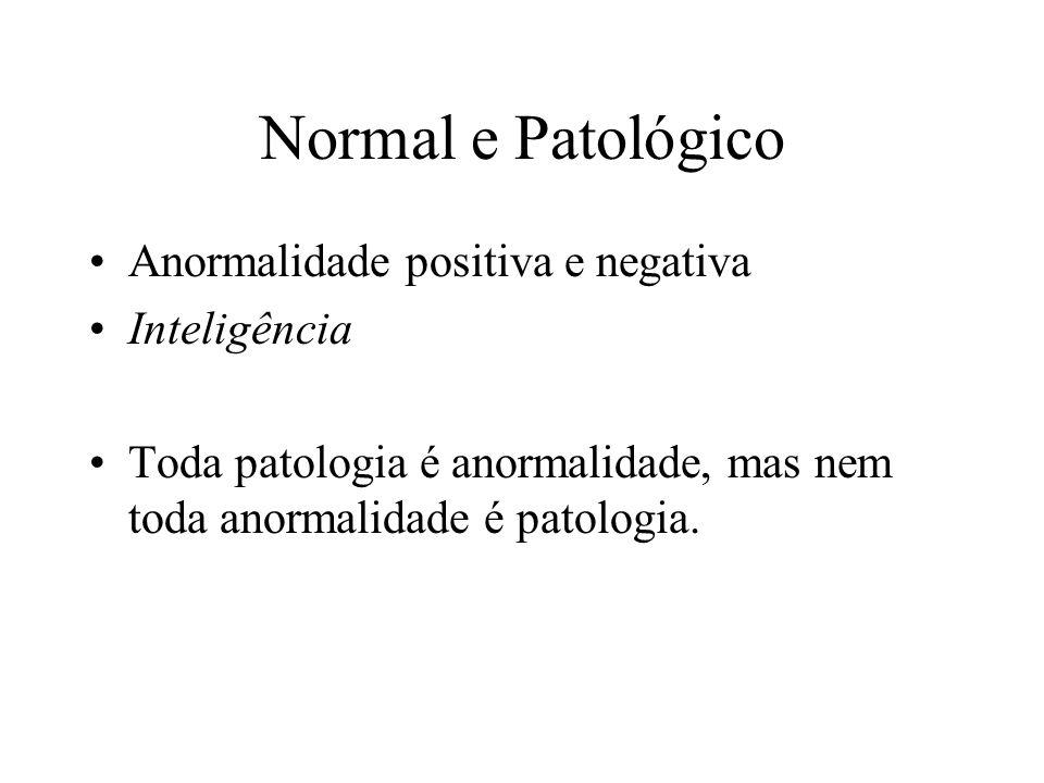 Normal e Patológico Anormalidade positiva e negativa Inteligência Toda patologia é anormalidade, mas nem toda anormalidade é patologia.