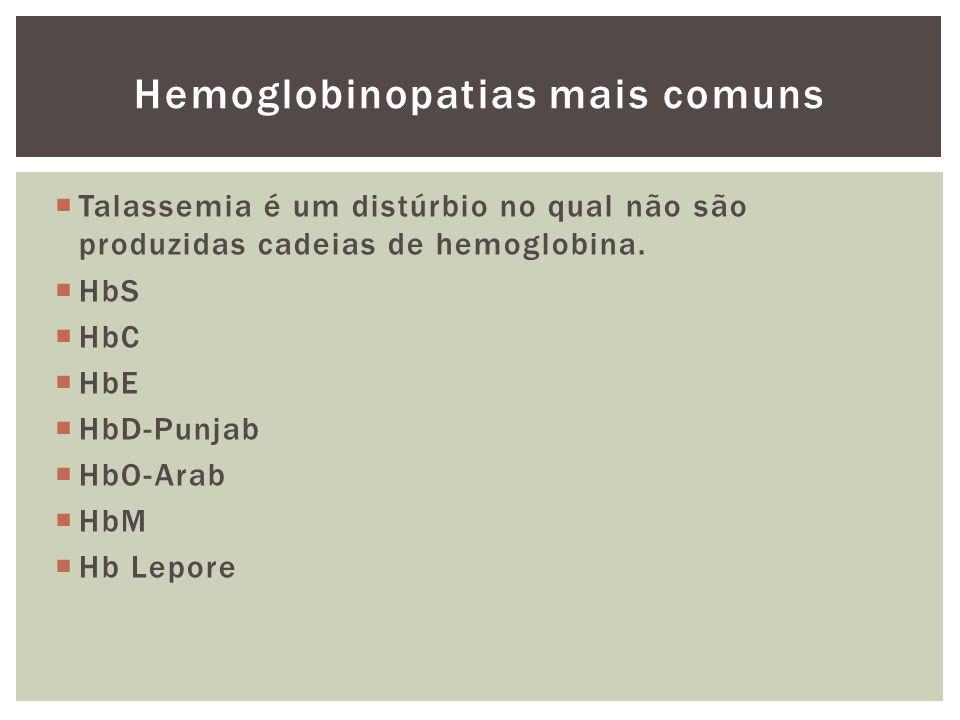 Hemoglobinopatias mais comuns Talassemia é um distúrbio no qual não são produzidas cadeias de hemoglobina. HbS HbC HbE HbD-Punjab HbO-Arab HbM Hb Lepo