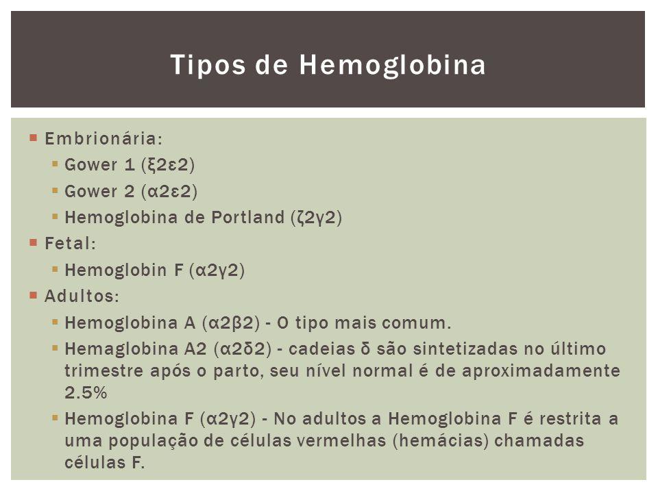 Tipos de Hemoglobina Embrionária: Gower 1 (ξ2ε2) Gower 2 (α2ε2) Hemoglobina de Portland (ζ2γ2) Fetal: Hemoglobin F (α2γ2) Adultos: Hemoglobina A (α2β2