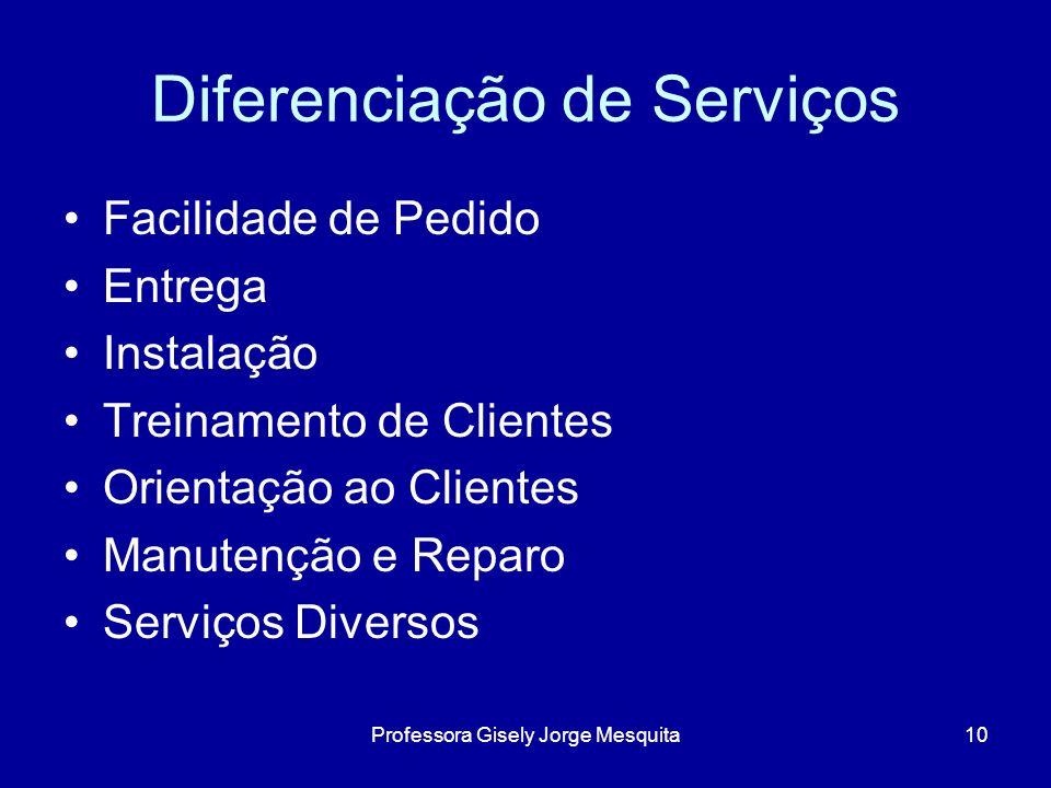 Diferenciação de Serviços Facilidade de Pedido Entrega Instalação Treinamento de Clientes Orientação ao Clientes Manutenção e Reparo Serviços Diversos