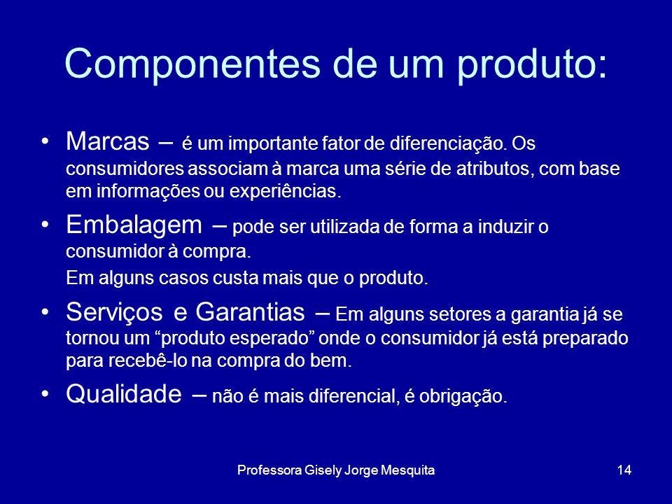 Componentes de um produto: Marcas – é um importante fator de diferenciação. Os consumidores associam à marca uma série de atributos, com base em infor