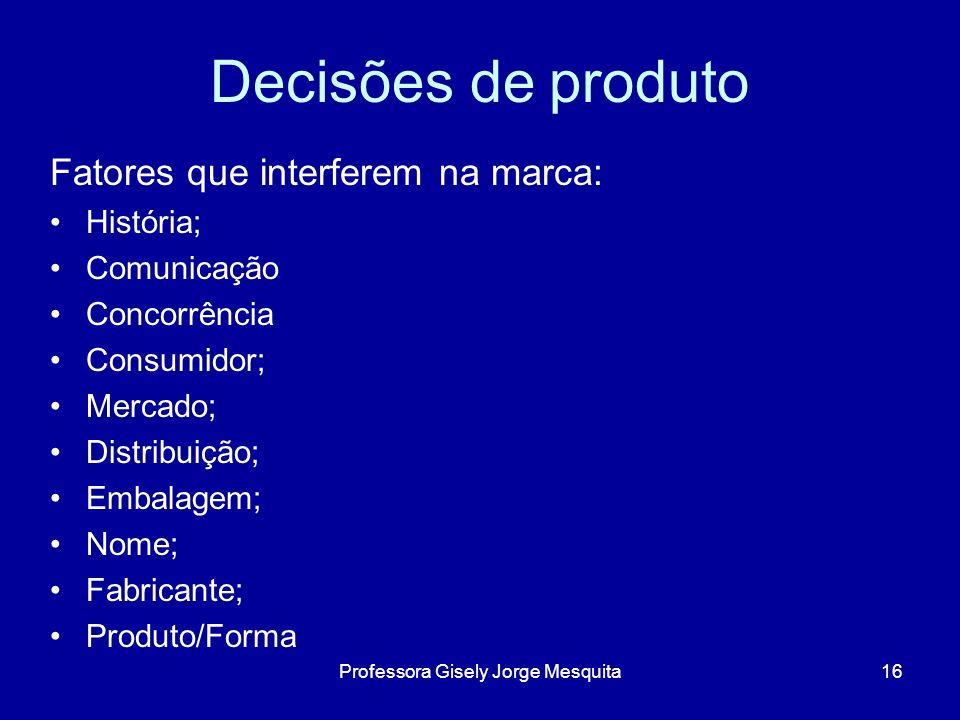 Decisões de produto Fatores que interferem na marca: História; Comunicação Concorrência Consumidor; Mercado; Distribuição; Embalagem; Nome; Fabricante