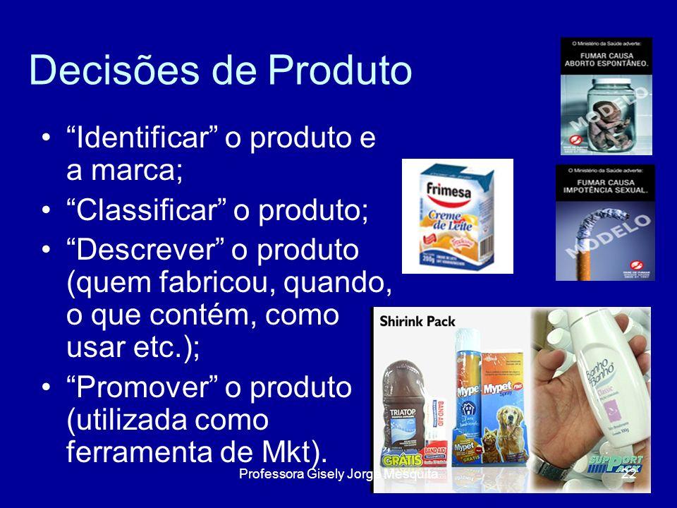 Decisões de Produto Identificar o produto e a marca; Classificar o produto; Descrever o produto (quem fabricou, quando, o que contém, como usar etc.);