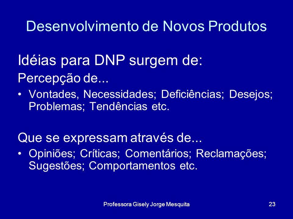 Desenvolvimento de Novos Produtos Idéias para DNP surgem de: Percepção de... Vontades, Necessidades; Deficiências; Desejos; Problemas; Tendências etc.