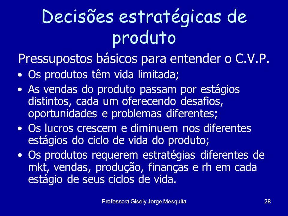 Decisões estratégicas de produto Pressupostos básicos para entender o C.V.P. Os produtos têm vida limitada; As vendas do produto passam por estágios d