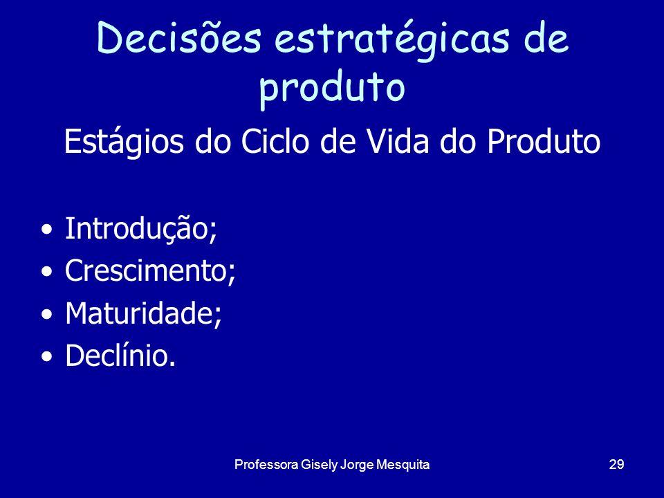 Decisões estratégicas de produto Estágios do Ciclo de Vida do Produto Introdução; Crescimento; Maturidade; Declínio. 29Professora Gisely Jorge Mesquit