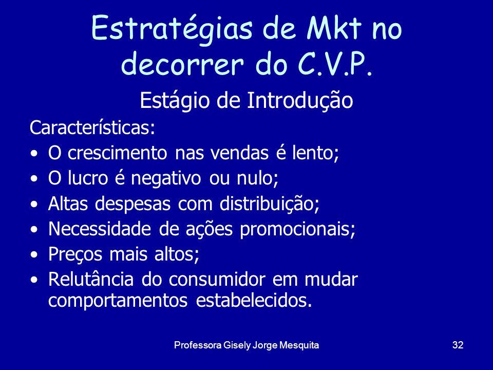 Estratégias de Mkt no decorrer do C.V.P. Estágio de Introdução Características: O crescimento nas vendas é lento; O lucro é negativo ou nulo; Altas de