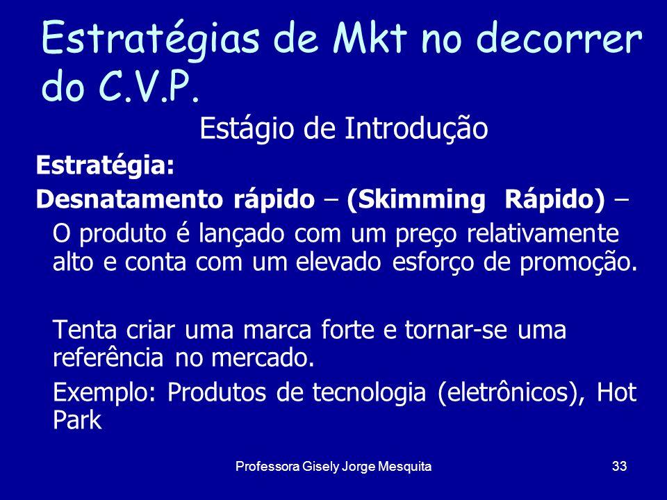 Estratégias de Mkt no decorrer do C.V.P. Estágio de Introdução Estratégia: Desnatamento rápido – (Skimming Rápido) – O produto é lançado com um preço
