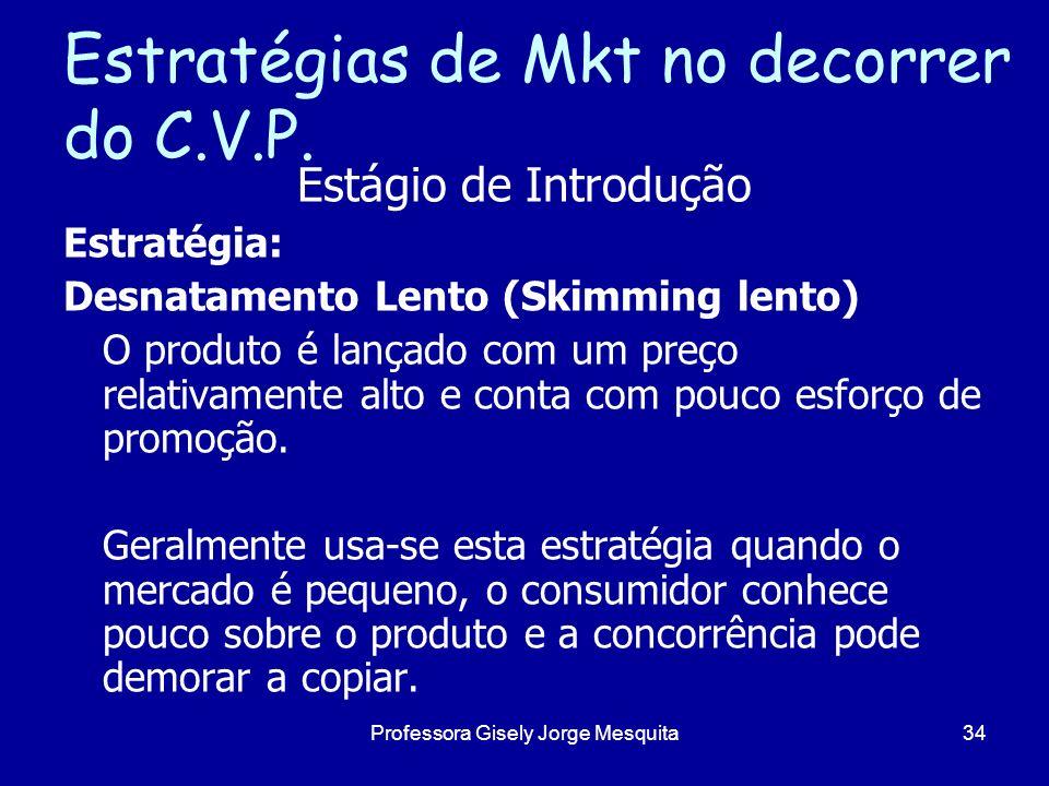 Estratégias de Mkt no decorrer do C.V.P. Estágio de Introdução Estratégia: Desnatamento Lento (Skimming lento) O produto é lançado com um preço relati