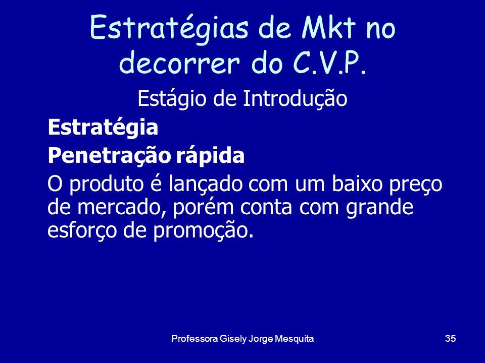 Estratégias de Mkt no decorrer do C.V.P. Estágio de Introdução Estratégia Penetração rápida O produto é lançado com um baixo preço de mercado, porém c