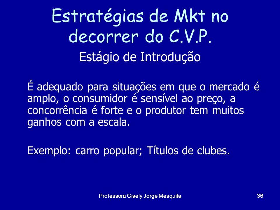 Estratégias de Mkt no decorrer do C.V.P. Estágio de Introdução É adequado para situações em que o mercado é amplo, o consumidor é sensível ao preço, a