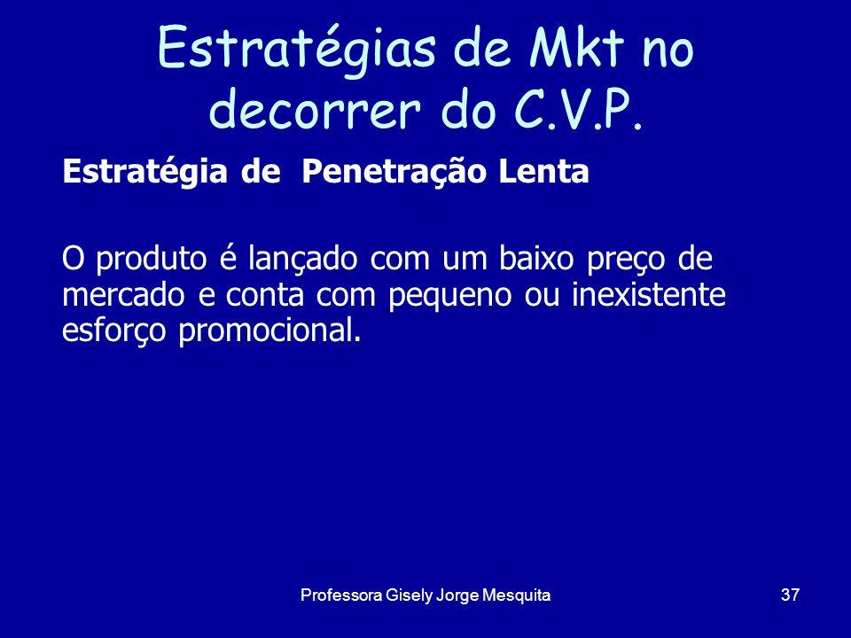 Estratégias de Mkt no decorrer do C.V.P. Estratégia de Penetração Lenta O produto é lançado com um baixo preço de mercado e conta com pequeno ou inexi