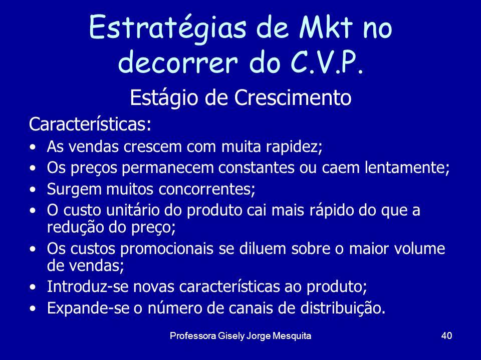 Estratégias de Mkt no decorrer do C.V.P. Estágio de Crescimento Características: As vendas crescem com muita rapidez; Os preços permanecem constantes