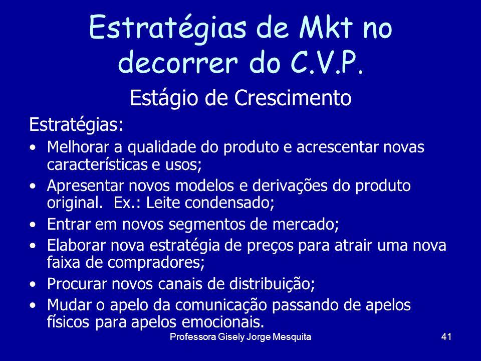 Estratégias de Mkt no decorrer do C.V.P. Estágio de Crescimento Estratégias: Melhorar a qualidade do produto e acrescentar novas características e uso