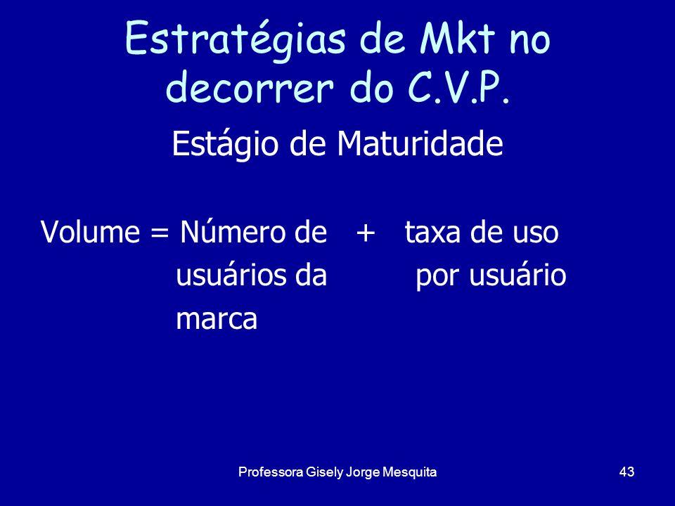 Estratégias de Mkt no decorrer do C.V.P. Estágio de Maturidade Volume = Número de + taxa de uso usuários da por usuário marca 43Professora Gisely Jorg