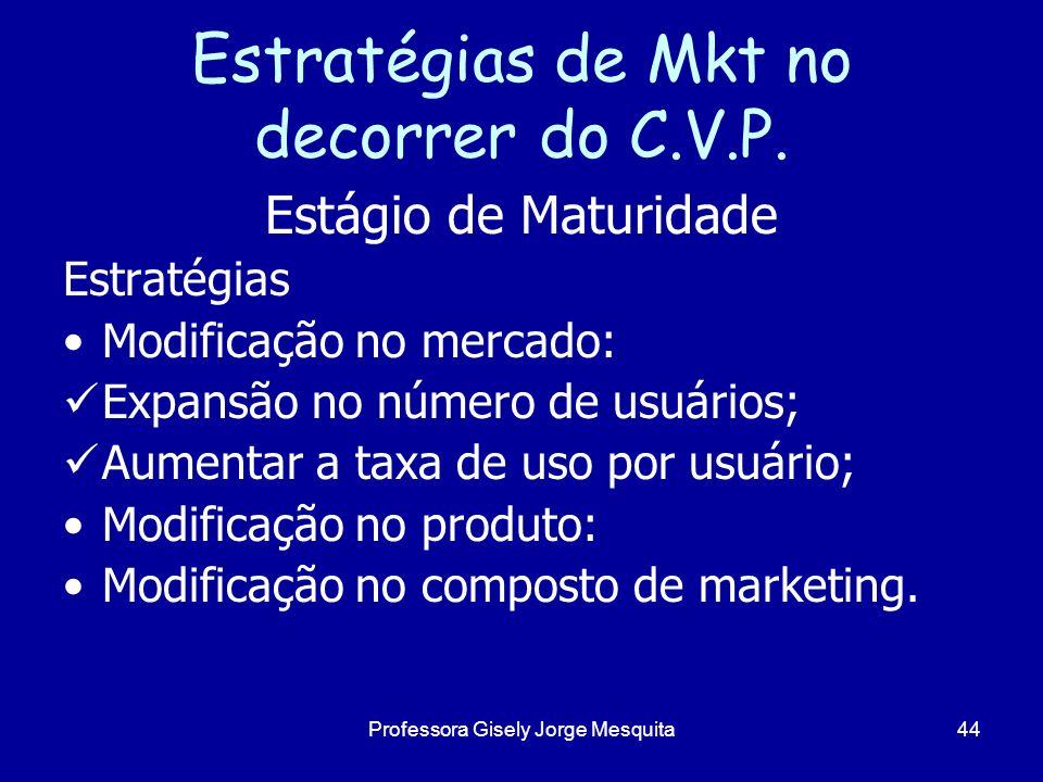 Estratégias de Mkt no decorrer do C.V.P. Estágio de Maturidade Estratégias Modificação no mercado: Expansão no número de usuários; Aumentar a taxa de