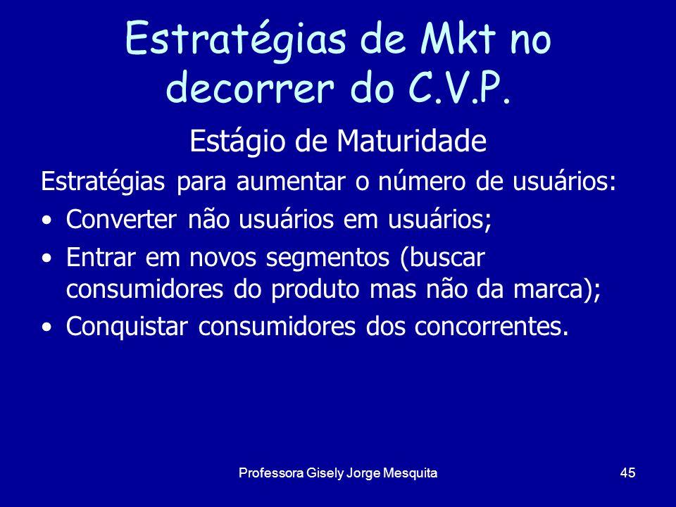 Estratégias de Mkt no decorrer do C.V.P. Estágio de Maturidade Estratégias para aumentar o número de usuários: Converter não usuários em usuários; Ent